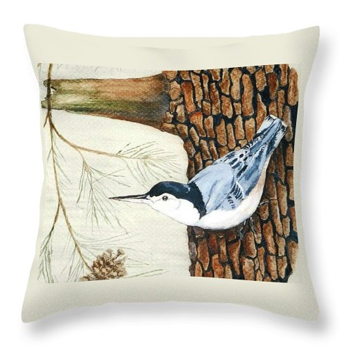 Nuthatch Throw Pillow featuring the painting Upside Down by Debra Sandstrom