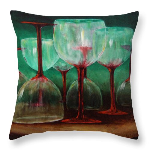 Oil Throw Pillow featuring the painting Upsidedown by Linda Hiller