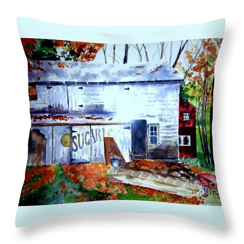 Autumn Throw Pillow featuring the painting Upstate Barn by Sandy Ryan