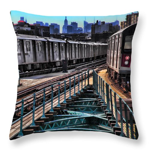 Trains Throw Pillow featuring the photograph Uptown And Downtown by June Marie Sobrito