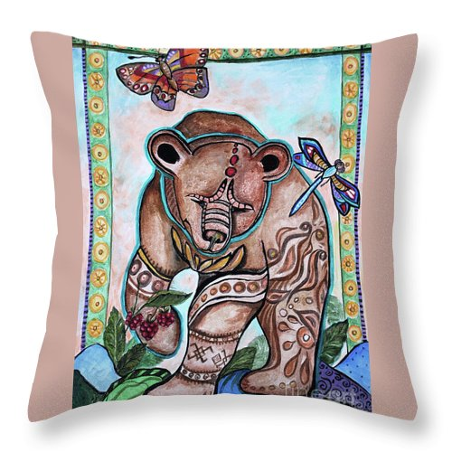 Ural Throw Pillow featuring the painting Ural Bear by Yana Sadykova