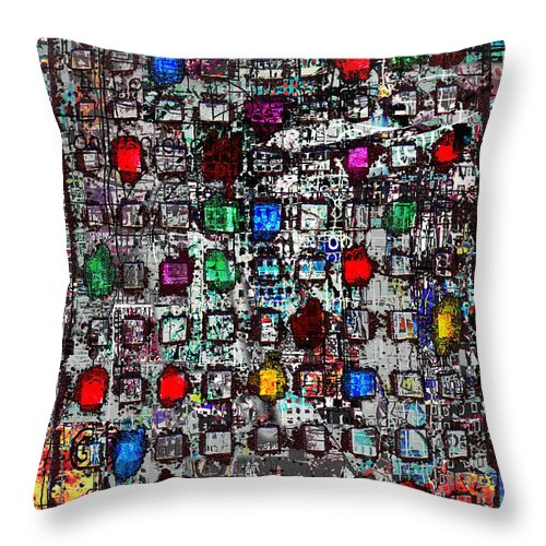 Urban Abstract City Skyscraper  Throw Pillow featuring the digital art Urb 4 by Andy Mercer
