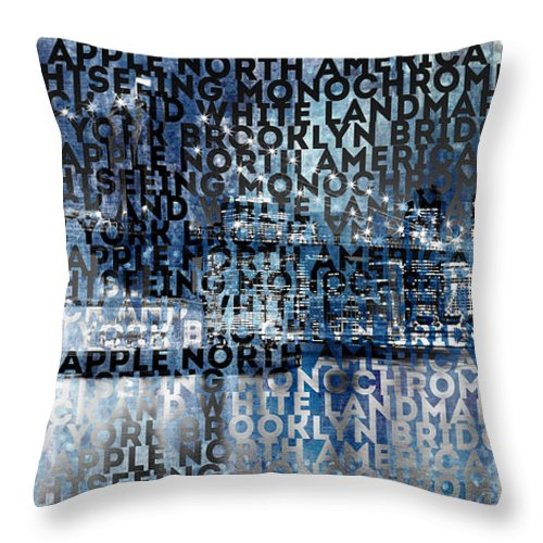 Abstract Throw Pillow featuring the photograph Urban-art Nyc Brooklyn Bridge I by Melanie Viola