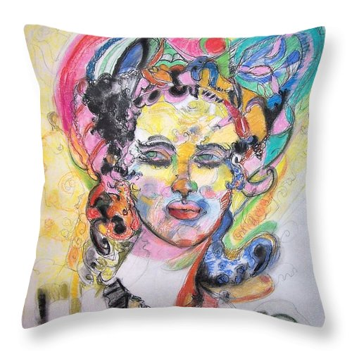 Colorful Pastel Throw Pillow featuring the drawing Urban Beauty by Mykul Anjelo