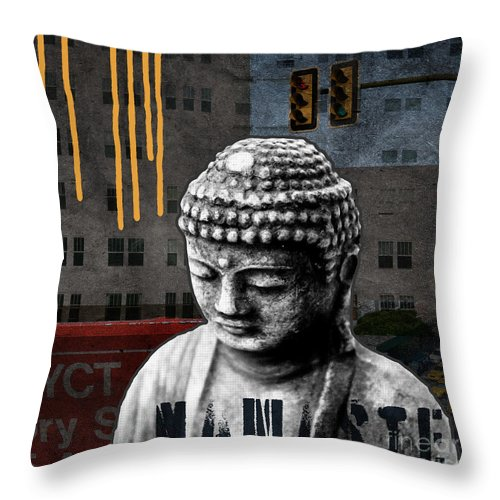 Buddha Throw Pillow featuring the mixed media Urban Buddha by Linda Woods