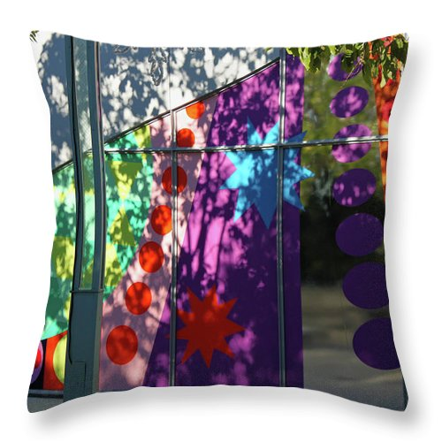 Color Throw Pillow featuring the photograph Urban Color - Afternoon Shadows by Suzanne Gaff