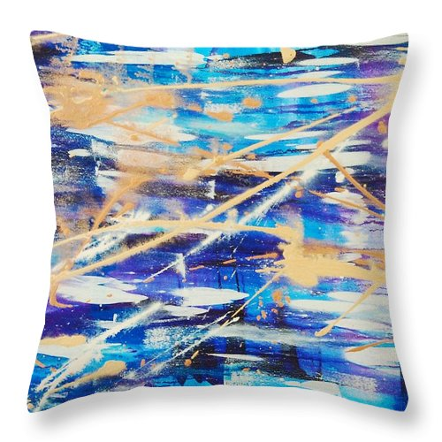 Abstract Throw Pillow featuring the painting Urban Footprint by Lauren Luna