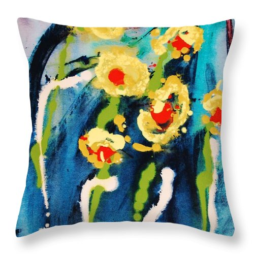 Abstract Throw Pillow featuring the painting Urban Garden by Lauren Luna