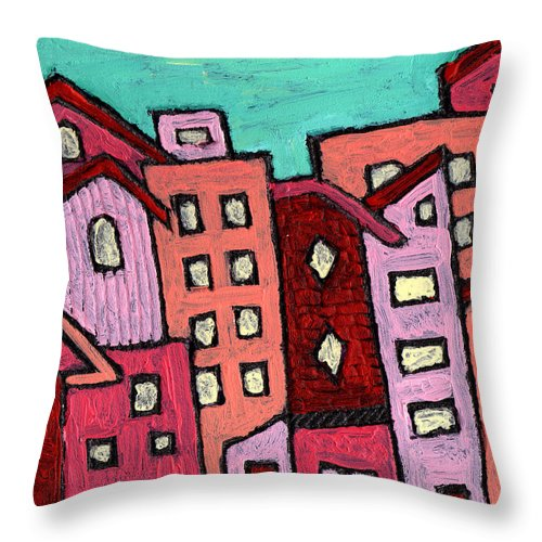 City Scene Throw Pillow featuring the painting Urban Heat by Wayne Potrafka