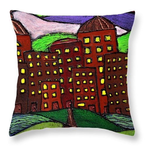 City Scape Throw Pillow featuring the painting Urban Legand by Wayne Potrafka