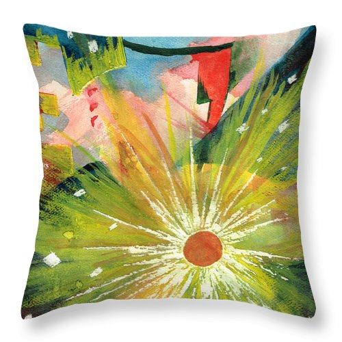 Downtown Throw Pillow featuring the painting Urban Sunburst by Andrew Gillette