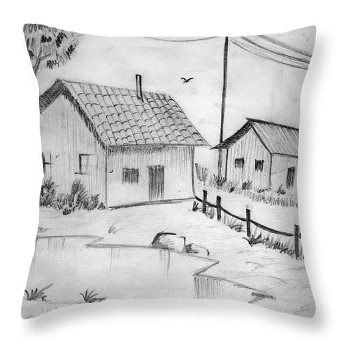 Pencil Drawing Throw Pillow featuring the painting Urbanisation Of Villages - Gaon Chale Shahr Ki Oar by Tanmay Singh