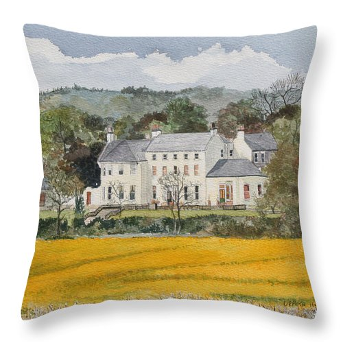 Landscape Throw Pillow featuring the painting Urpeth Hall Co Durham by George Levitt