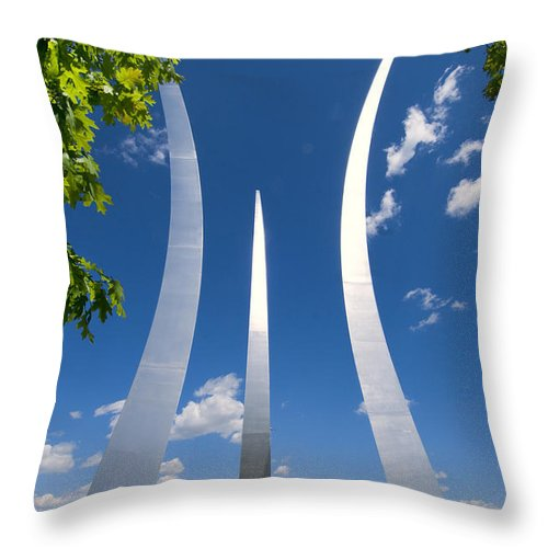 Air Force Throw Pillow featuring the photograph U.s. Air Force Memorial by Jim Moore