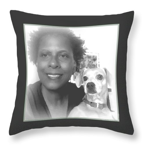 Pet Pals Throw Pillow featuring the photograph US by Angela J Wright