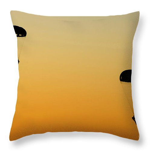 Military Throw Pillow featuring the photograph U.s. Army Rangers Parachute by Stocktrek Images