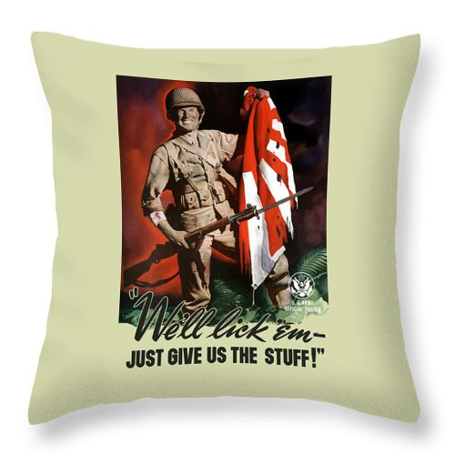 Us Army Throw Pillow featuring the painting Us Army -- World War Two Propaganda by War Is Hell Store