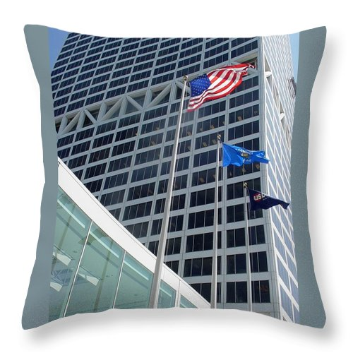 Us Bank Throw Pillow featuring the photograph Us Bank With Flags by Anita Burgermeister