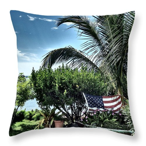 Amerian Flag Throw Pillow featuring the photograph US Flag in the Abaco Islands, Bahamas by Cindy Ross