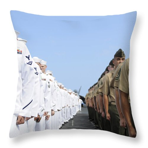 Man The Rails Throw Pillow featuring the photograph U.s. Marines And Sailors Stand by Stocktrek Images