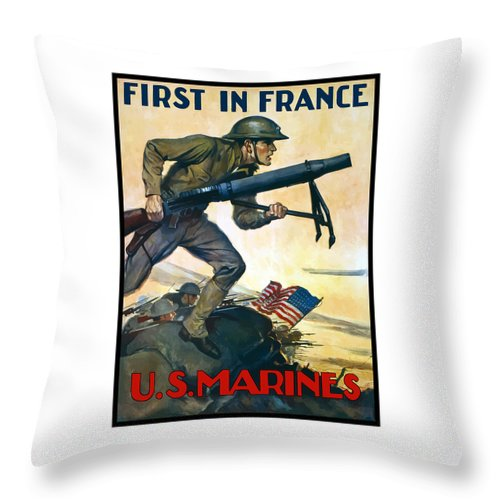 Marines Throw Pillow featuring the painting Us Marines - First In France by War Is Hell Store