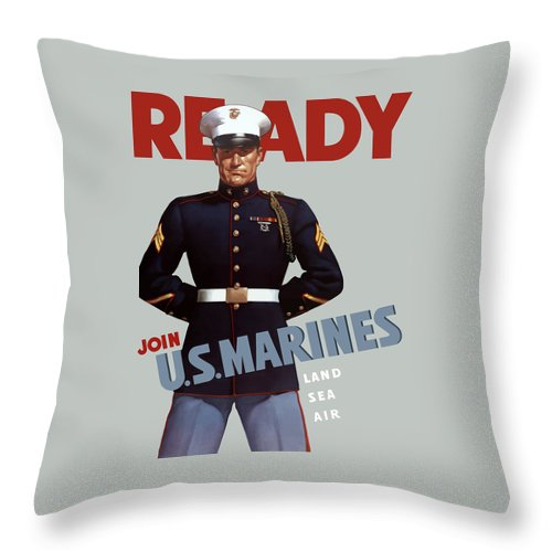 Marine Recruiting Throw Pillow featuring the painting Us Marines - Ready by War Is Hell Store
