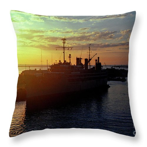Sunrise Throw Pillow featuring the photograph Us Naval Station Mayport by Thomas R Fletcher