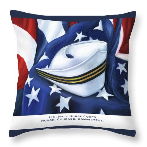 Nurse Throw Pillow featuring the painting U.s. Navy Nurse Corps by Marlyn Boyd