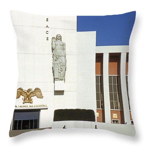 World's Fair Throw Pillow featuring the photograph Us Pavilion Left Entrance by David Halperin