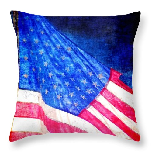 Flag Throw Pillow featuring the photograph USA by Donna Bentley