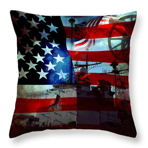 War Throw Pillow featuring the photograph Usa Patriot Flag And War by Phill Petrovic