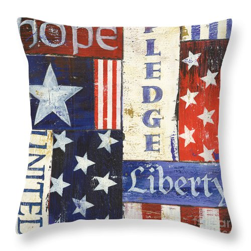 Hope Throw Pillow featuring the painting Usa Pride 1 by Debbie DeWitt