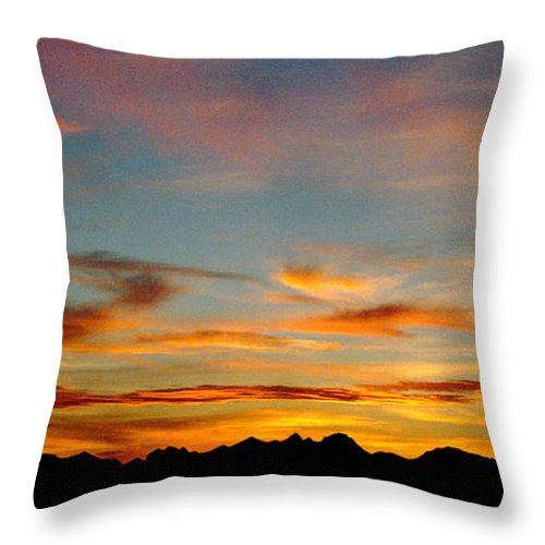 Arizona Sunset Throw Pillow featuring the photograph Usery Sunset by Randy Oberg