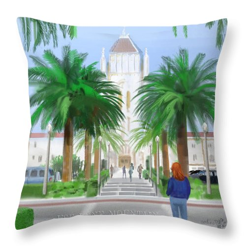 Usf Throw Pillow featuring the digital art Usf Lone Mountain San Francisco Ca by Arline Wagner