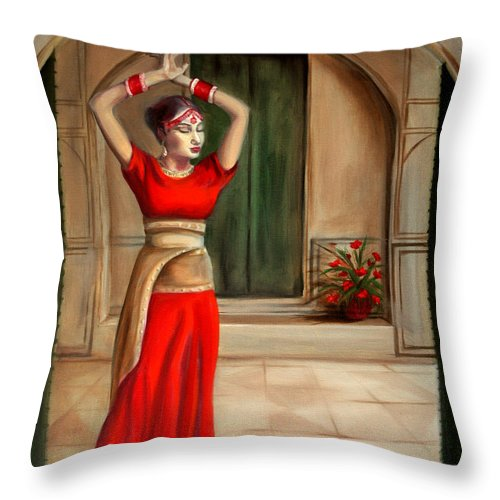 Woman Throw Pillow featuring the painting Usha by Maryn Crawford