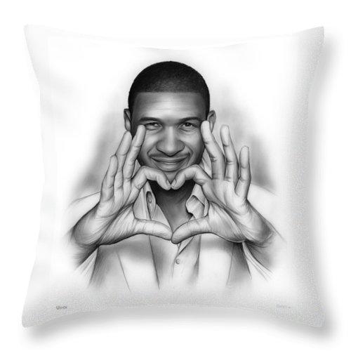 Usher Throw Pillow featuring the drawing Usher by Greg Joens