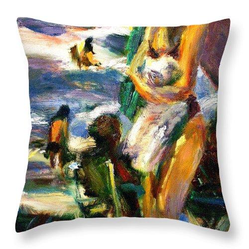 Dornberg Throw Pillow featuring the painting Using Her Beach Towel by Bob Dornberg