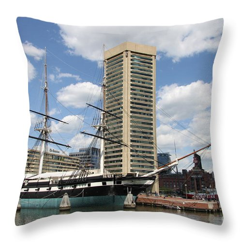 All Sail War Ship Throw Pillow featuring the photograph Uss Constellation - Baltimore Inner Harbor by Christiane Schulze Art And Photography