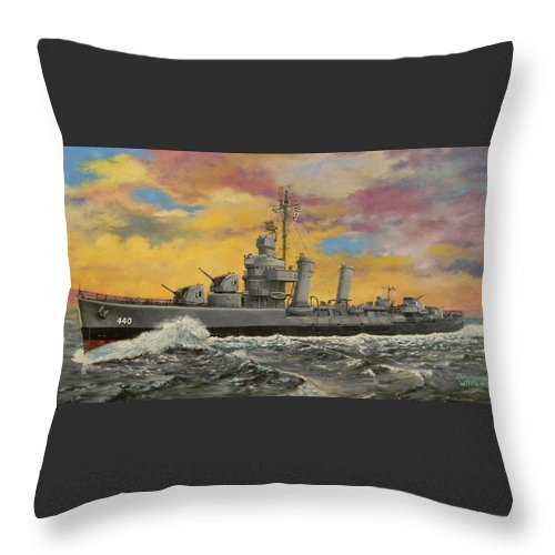 Destroyer Throw Pillow featuring the painting Uss Ericsson by Duwayne Williams