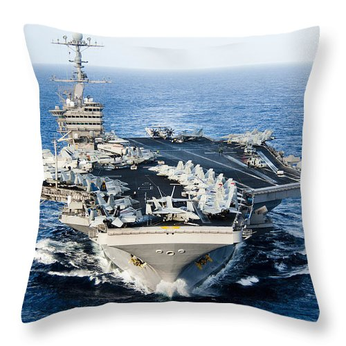 High Angle View Throw Pillow featuring the photograph Uss John C. Stennis Transits by Stocktrek Images
