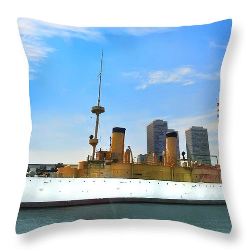 Spanish American War Throw Pillow featuring the photograph Uss Olympia by Bill Cannon