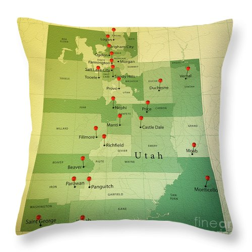 Cartography Throw Pillow featuring the digital art Utah Map Square Cities Straight Pin Vintage by Frank Ramspott