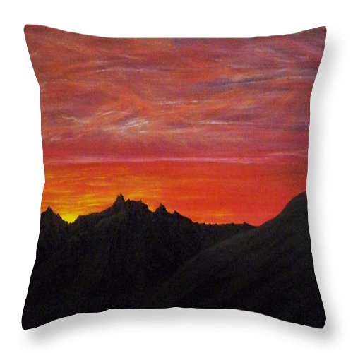 Sunset Throw Pillow featuring the painting Utah Sunset by Michael Cuozzo