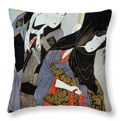 1797 Throw Pillow featuring the photograph Utamaro: Lovers, 1797 by Granger