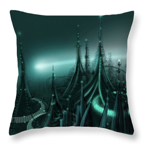 Cityscape Throw Pillow featuring the digital art Utopia by James Christopher Hill