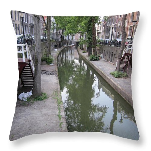Canal Throw Pillow featuring the photograph Utrecht Canal by Kat Cortez