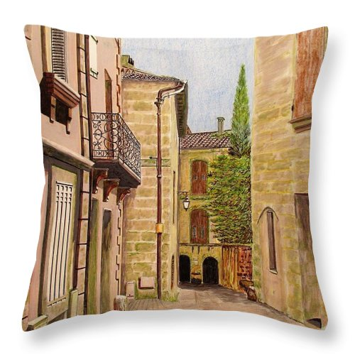 Uzes Throw Pillow featuring the drawing Uzes, South Of France by Olga Silverman