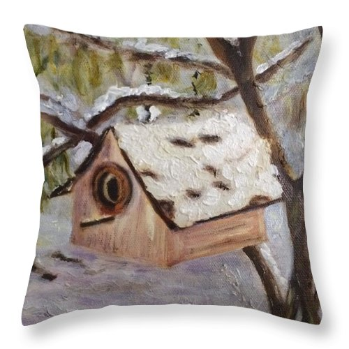 Birdhouse Throw Pillow featuring the painting Vacant for the Winter by Paula Emery
