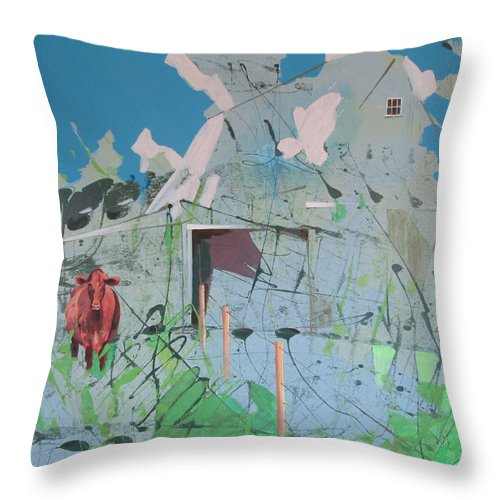 Barn Throw Pillow featuring the painting Vacant Vaca Barn by Jeff Seaberg