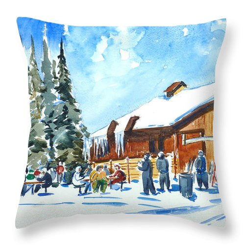 Nellya Throw Pillow featuring the painting Vail , Colorado by Nellya Veller